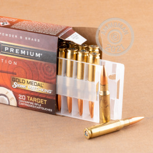 A photograph detailing the 308 / 7.62x51 ammo with Hollow-Point Boat Tail (HP-BT) bullets made by Federal.