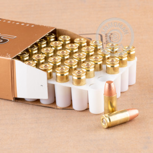 A photo of a box of Blazer Brass ammo in 9mm Luger.