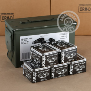 Photo detailing the 223 REM FEDERAL AMERICAN EAGLE 55 GRAIN FMJBT (500 ROUNDS) for sale at AmmoMan.com.
