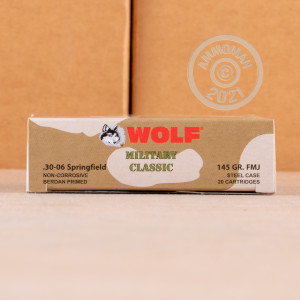 Photo of 30.06 Springfield FMJ ammo by Wolf for sale.