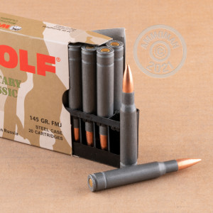 A photograph of 100 rounds of 145 grain 30.06 Springfield ammo with a FMJ bullet for sale.