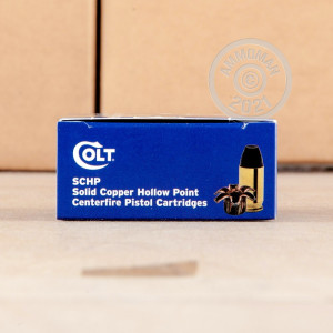 Image of .380 Auto ammo by Colt that's ideal for home protection.