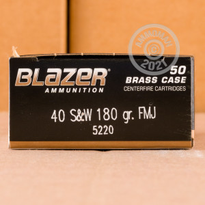 Image of .40 Smith & Wesson ammo by Blazer Brass that's ideal for training at the range.