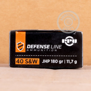 Image of .40 Smith & Wesson ammo by Prvi Partizan that's ideal for home protection, training at the range.
