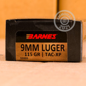 A photo of a box of Barnes ammo in 9mm Luger.