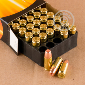 A photograph detailing the 9mm Luger ammo with JHP bullets made by Armscor.