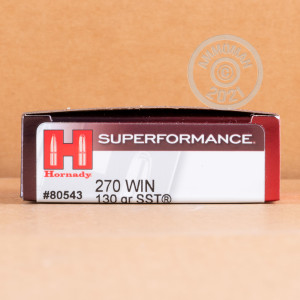 Image of Hornady 270 Winchester rifle ammunition.