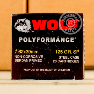 Image of Wolf 7.62 x 39 rifle ammunition.