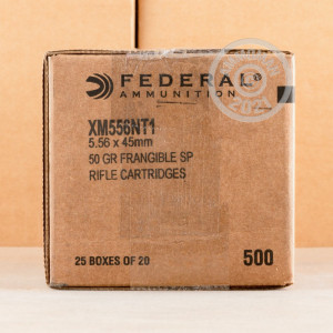 Photo detailing the 5.56X45 FEDERAL AMERICAN EAGLE 50 GRAIN SP FRANGIBLE (500 ROUNDS) for sale at AmmoMan.com.