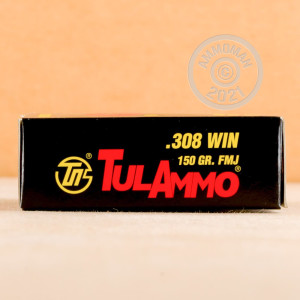 Image of Tula Cartridge Works 308 / 7.62x51 rifle ammunition.