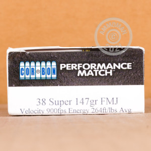 Image of 38 Super ammo by Corbon that's ideal for precision shooting, training at the range.