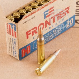 Photograph showing detail of 5.56X45MM HORNADY FRONTIER 55 GRAIN HP MATCH (20 ROUNDS)