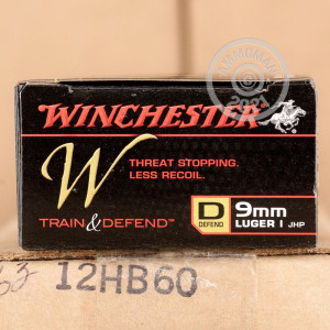 A photograph of 20 rounds of 147 grain 9mm Luger ammo with a JHP bullet for sale.