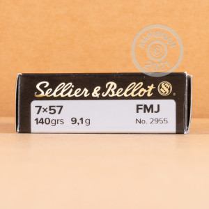 Photograph showing detail of 7X57MM MAUSER SELLIER & BELLOT 140 GRAIN FMJ (20 ROUNDS)