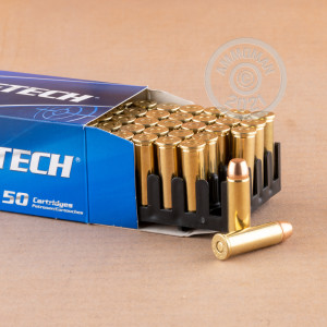 A photograph detailing the 38 Special ammo with full metal jacket flat-point bullets made by Magtech.