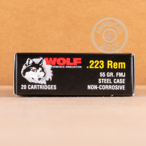 Photo detailing the 223 REM WOLF 55 GRAIN FMJ (20 ROUNDS) for sale at AmmoMan.com.
