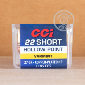 Photograph of 22 Short ammo with copper plated hollow point ideal for hunting varmint sized game.