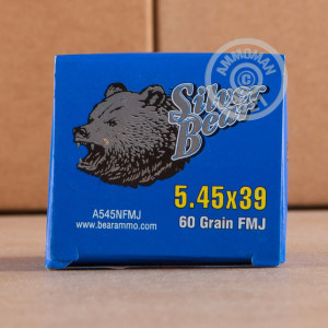 An image of bulk 5.45 x 39 Russian ammo made by Silver Bear at AmmoMan.com.
