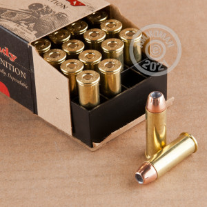 A photograph detailing the 44 Remington Magnum ammo with XTP bullets made by Hornady.