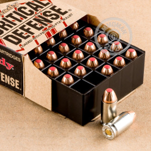 A photograph detailing the 9x18 Makarov ammo with JHP bullets made by Hornady.