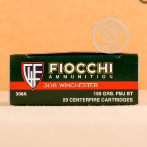 A photo of a box of Fiocchi ammo in 308 / 7.62x51 that's often used for training at the range.