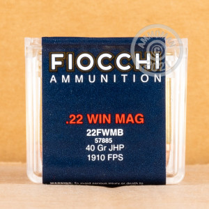 rounds of .22 WMR ammo with JHP bullets made by Fiocchi.