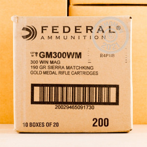 Photo of 300 Winchester Magnum Hollow-Point Boat Tail (HP-BT) ammo by Federal for sale.