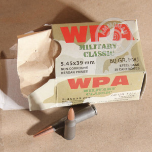 Image detailing the steel case and berdan primers on 750 rounds of Wolf ammunition.