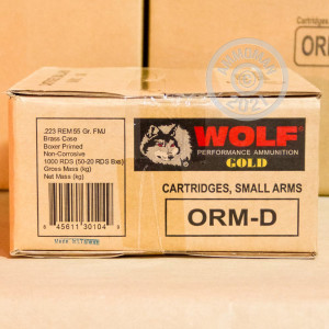 Photo detailing the 223 REMINGTON WOLF GOLD 55 GRAIN FMJ BRASS CASED (1000 ROUNDS) for sale at AmmoMan.com.