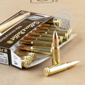 A photograph detailing the 7.62 x 39 ammo with FMJ bullets made by Sellier & Bellot.