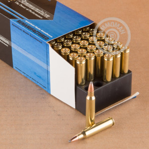 A photograph of 50 rounds of 55 grain 223 Remington ammo with a Jacketed Soft-Point (JSP) bullet for sale.