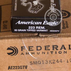 Photo detailing the 223 REM. FEDERAL AMERICAN EAGLE 50 GRAIN POLYMER TIPPED VARMINT (500 ROUNDS) for sale at AmmoMan.com.