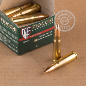 A photo of a box of Fiocchi ammo in 7.62 x 39.