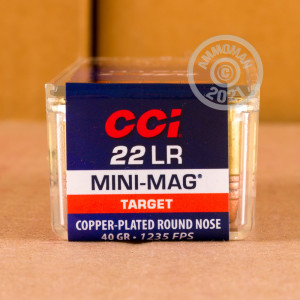 rounds of .22 Long Rifle ammo with copper plated round nose bullets made by CCI.