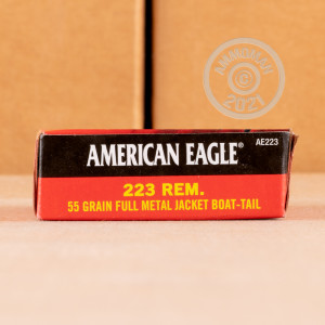 Image of the 223 REM FEDERAL AMERICAN EAGLE 55 GRAIN FMJBT (20 ROUNDS) available at AmmoMan.com.