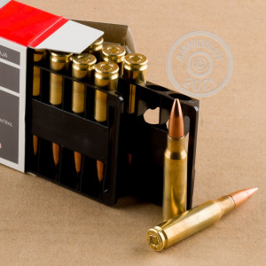A photograph detailing the 308 / 7.62x51 ammo with FMJ bullets made by Aguila.