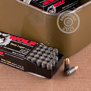 An image of 9mm Luger ammo made by Wolf at AmmoMan.com.