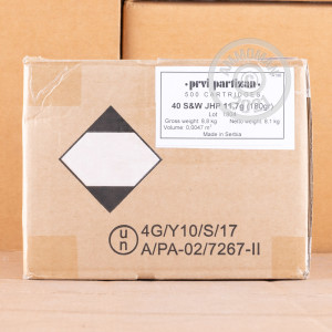 An image of .40 Smith & Wesson ammo made by Prvi Partizan at AmmoMan.com.