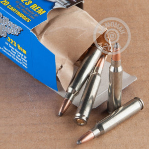A photograph detailing the 223 Remington ammo with Soft-Point Boat Tail (SP-BT) bullets made by Silver Bear.