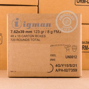 Image detailing the brass case and boxer primers on 720 rounds of Igman Ammunition ammunition.