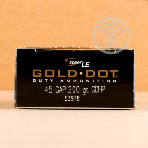 An image of .45 GAP ammo made by Speer at AmmoMan.com.
