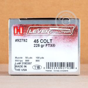 An image of .45 COLT ammo made by Hornady at AmmoMan.com.