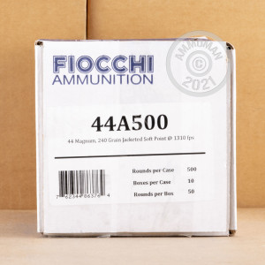 A photograph of 500 rounds of 240 grain 44 Remington Magnum ammo with a Semi-Jacketed Soft-Point (SJSP) bullet for sale.
