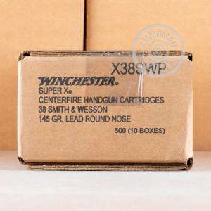 A photo of a box of Winchester ammo in .38 S/W.