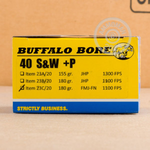 A photo of a box of Buffalo Bore ammo in .40 Smith & Wesson.