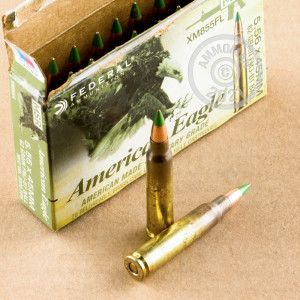 Photograph showing detail of 5.56X45MM FEDERAL AMERICAN EAGLE 62 GRAIN XM855 FMJBT (20 ROUNDS)