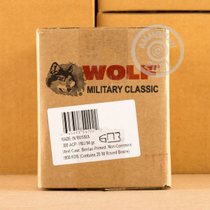 An image of .380 Auto ammo made by Wolf at AmmoMan.com.