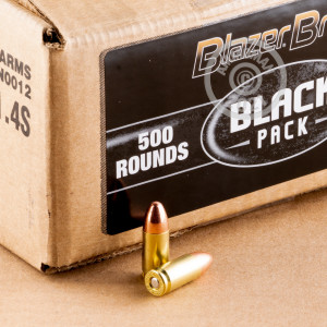 An image of 9mm Luger ammo made by Blazer Brass at AmmoMan.com.