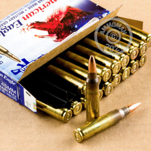 Photograph showing detail of 5.56X45 FEDERAL AMERICAN EAGLE 55 GRAIN FMJ-BT (20 ROUNDS)