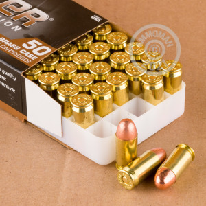 Photo of .45 Automatic FMJ ammo by Blazer Brass for sale at AmmoMan.com.